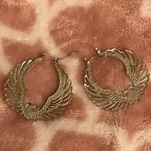 Heart and wings hoop earrings